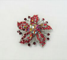 Silver Plated Red Rhinestone Crystal Flower Floral Pin Brooch