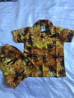 kids boys Yellow Gold Sunset Palm Tree Hawaiian fancy dress matching set small
