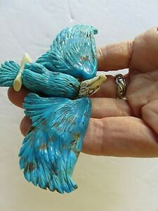 Southwestern Large Sterling Silver Carved Turquoise Eagle Moving Wings Pendant