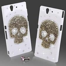 NEW COOL 3D BLING SKULL DIAMANTE PROTECTIVE WHITE CASE COVER FOR SONY XPERIA Z