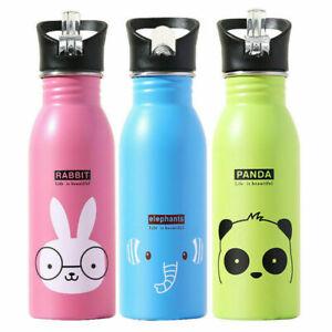 500ml Children Kids Stainless Steel Water Bottle Sports Straw Drink Cup Cartoon