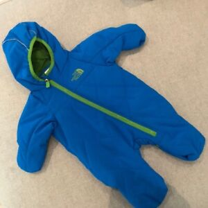 THE NORTH FACE BOYS BLUE INFANT BABY 0-3 MONTHS SNOWSUIT BUNTING