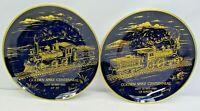 Vintage Golden Spike Centennial Cobalt Set of 2 Plates UP 119 CP Jupiter