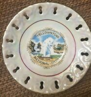 Vintage Yellowstone National Park Souvenir Reticulated Plate made in Japan
