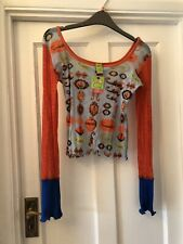 New Save The Queen! Orange & Blue Contrast Scorpion Silky Stretchy Top,L