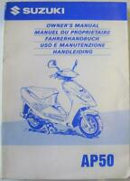 Suzuki AP50 1997 #99011-09E83-GDU Scooter Owner Handbook
