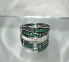 GLAMOROUS .85 ct.  NATURAL  GENUINE AFRICAN EMERALD .925 STERLING  SILVER RING