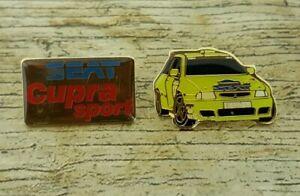 2 x SEAT Cupra Sport Rally Themed Pin Badges
