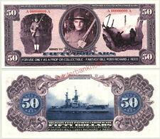 WWI DOUGHBOY/BATTLESHIP ARKANSAS $50 SPECIMEN MILITARY FANTASY PAY CERTIFICATE!