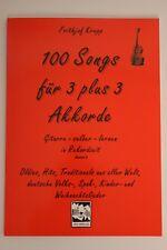 """Liederbuch für Gitarre """"100 SONGS FÜR 3 plus 3 AKKORDE"""" FREIHAUS (rot) NEU/NEW"""