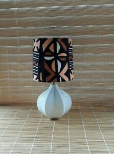 """Multicolor Decorative African Accent Mudcloth Lamp Shade.15"""" High. 7"""" Diameter."""
