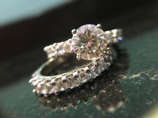 Set In Solid 925 Sterling Silver 2Ct Round Cut Moissanite Engagement Bridal Ring