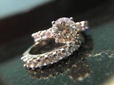 Women Sterling Silver Moissanite Round Cut Wedding Engagement Ring Set Size 4-14