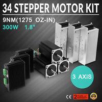 US FREE SHIP 3Axis Nema 34 Stepper Motor Shaft125oz CNC kit or MILL LONGS