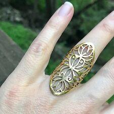 Triple Lotus Flower Ring in Brass: sizes 7 or 7.5