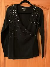 INC Women's Black Embellished Merino Wool V-Neck Sweater Size Medium Petite
