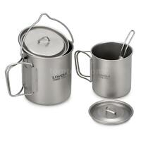 Lixada Ultralight Camping Pot/ Water Cup Mug/ Spork Backpack for Outdoor Camping