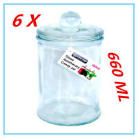 6 X Glass Apothecary Candy Lolly Buffet Jar Candle Waxing Wedding Party 660ML AP