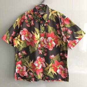 Vintage (Sz L) REYN SPOONER Half Button Floral Shirt Top Smock Cotton Hawaiian