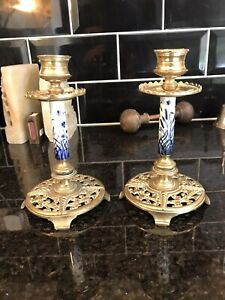 PAIR of AESTHETIC MOVEMENT BLUE & WHITE PORCELAIN & BRASS CANDLESTICKS