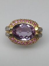 14K Yellow Gold Amethyst, Pink Sapphire and Diamond Ring Designs by Sevan Size 8