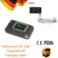 Pulsossimetro da dito 24 ore con sonda per adulti monitor spo2 USB ricaricabile