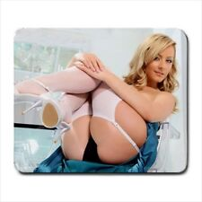 Sexy Blonde Girl Stockings MOUSEPAD - Mancave Cute Hot Photo actress model gift