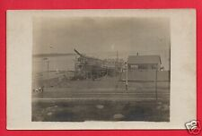 RPPC  SHIP BEING BUILT SCAFFOLD RAILROAD TRACK SUPPLY BUILDING MEN BUILDERS RPPC