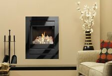 GAS FIRE BLACK WALL INSET PEBBLE FIREPLACE OPEN FRONTED GLASS FRAME WALL MOUNTED