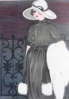 Louise Salomon: Elegante Auf Balkon - Lithografie Originell Unterzeichnet