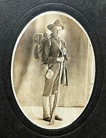 ORIGINAL SPANISH AMERICAN WAR US ARMY INFANTRYMAN w/FULL KIT CABINET PHOTO c1898