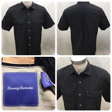 Tommy Bahama Men's Size M Medium Black S/S Button Front Shirt Textured     D7