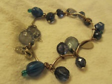 "Next Silver Tone & Blue Plastic Varied Bead Bracelet - 7.5-9"" long"