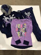 Justice Girls 3 Piece Sweatsuit Sweatshirt Velour Glitter Purple Blue Sz 8 10