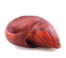 Boxwood Hand Carved Netsuke Sculpture Miniature Big Fish Carp Curly Tail #072015