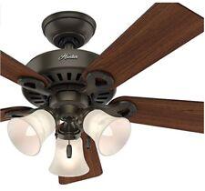 "Hunter 44"" Inch Bronze Finish Traditional Ceiling Fan 3-light Fitter"