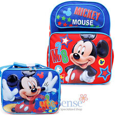 """Disney Mickey Mouse Large 16"""" School Backpack with Lunch Bag Set - M28"""