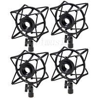 4 Pcs Spider Shock Mount Condenser Microphone Holder to avoid Vibrations Black