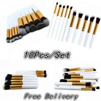 Pro Makeup Brushes Set Foundation Powder Eyeshadow Eyeliner Lip Brush 10Pcs New