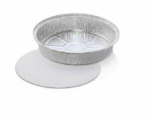 100 Round Aluminium Foil Food Containers No12 + Lids Free P&P