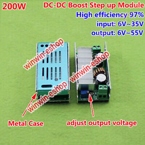 200W DC Boost Step up Converter 6-35V to 6-55V 12V 24V 48V Power Supply Module