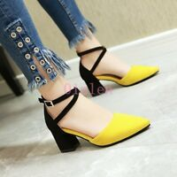 New Lady's Mid Block Heel Ankle Cross Strap Pointy Toe Pump Spring Buckle Shoes