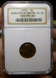 1972 Double Die Obverse 1c Lincoln Memorial Cent NGC MS-64 RD