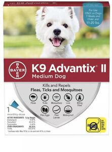 Bayer K9 Advantix II Flea Tick & Mosquito Medium Dogs 11-20 lbs 1 treatment Dose