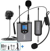 UHF Wireless Microphone System Headset Mic/Stand Mic/Lavalier Lapel Mic Black