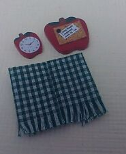 Dollhouse miniatures handcrafted apple bulletin board, clock & checked towels