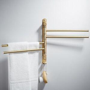 Active Towel Rack Adjustable Holder Brass Gold Shelves Toalheiro Wall Mounted