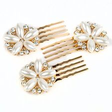 Bridal Wedding Rhinestone Pearl Flower Mini Comb 3 Prongs Bobby Pin hair comb A3