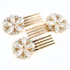 Bridal Wedding Rhinestone Pearl Flower Mini Comb 3 Prongs Bobby Pin hair comb A3