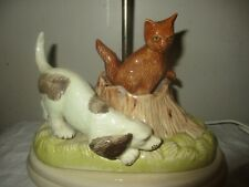 VINTAGE PORCELAIN ART POTTERY BEAGLE DOG, SPANIEL FOX CHASE FIGURAL TABLE LAMP